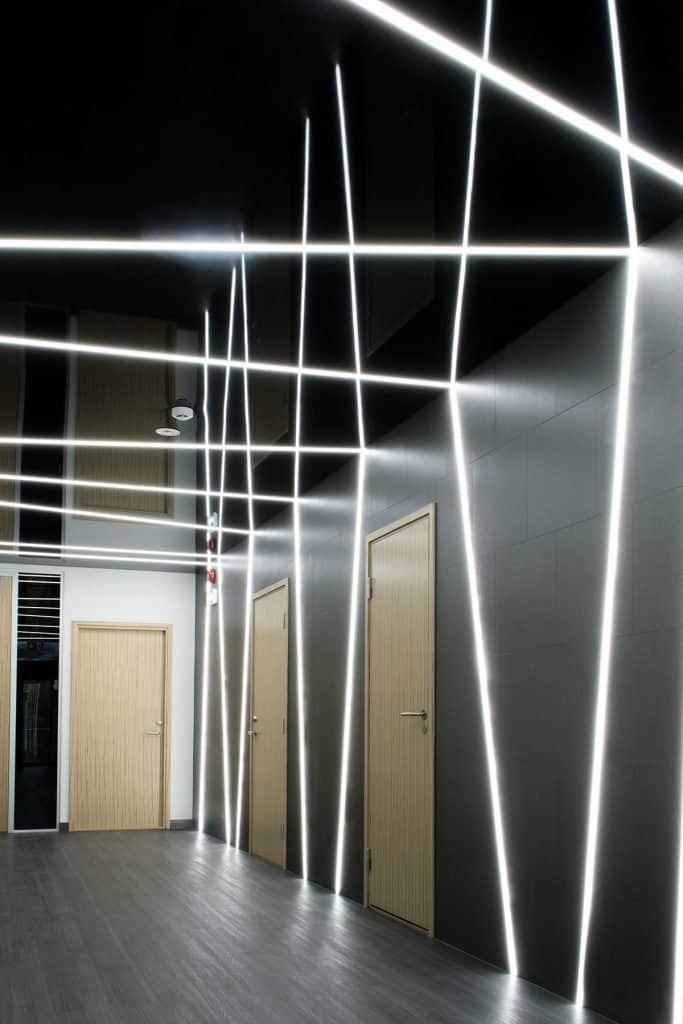 Vecta office black stretchc ceiling Linear LED lighting