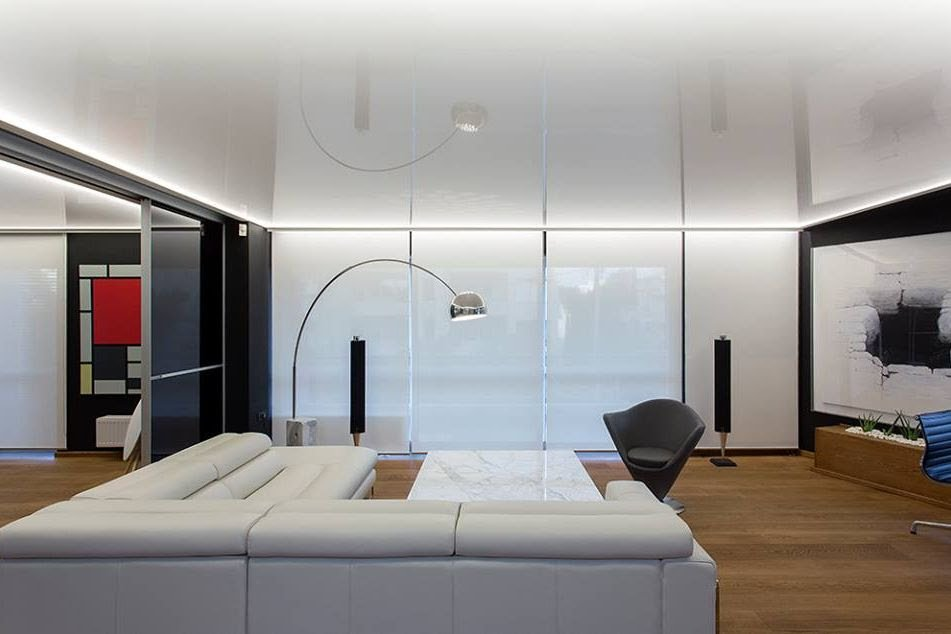 Track lighting system in living room